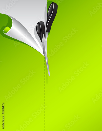 Scissors and green paper