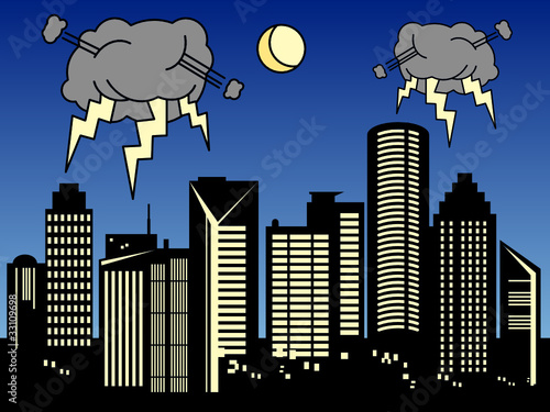 Storm in the city, vector illustration