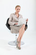 businesswoman on chair with laptop