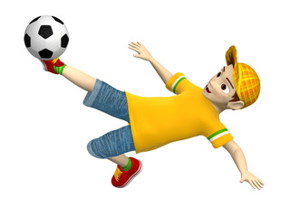 Boy plays soccer