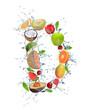 Fresh fruit alphabet letter