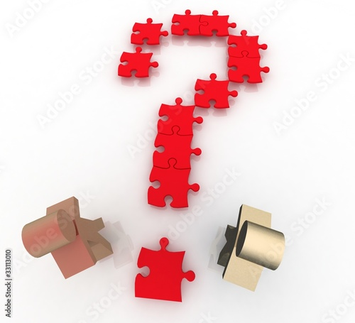 two men  on question mark jigsaw puzzle searches for a solution.