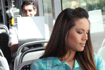 Girl sitting on the bus
