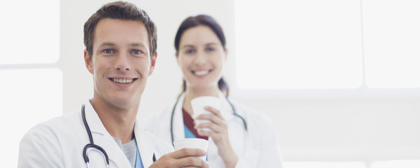 Doctors drinking coffee