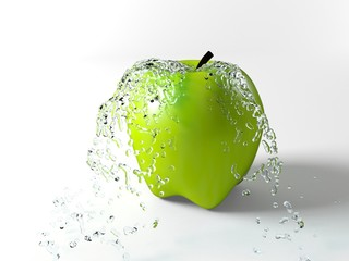 Water splash on an apple