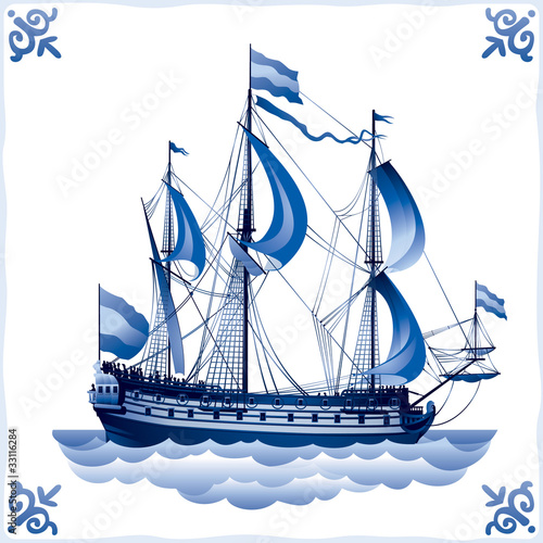 Ship on the Blue Dutch tile 4, battleship