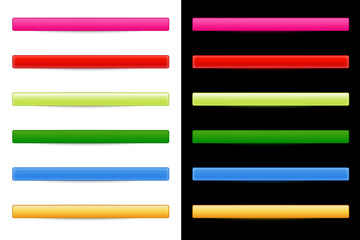 6 Farben Button-Set mit weißem und schwarzem Hintergrund