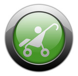 "Green Metallic Orb Button ""Stroller / Baby Transport"""