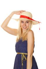 Blonde in a straw hat