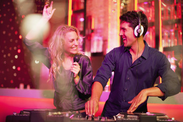 DJ and singer in nightclub