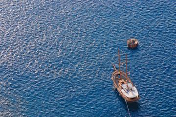Wooden sailing boat sailing