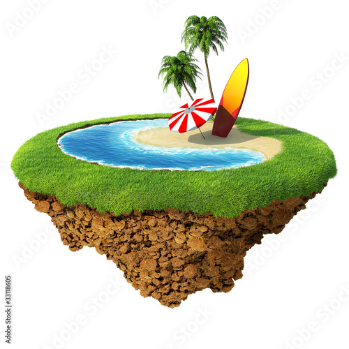 Surf on little planet. Concept for surf travel, holiday, hotel.
