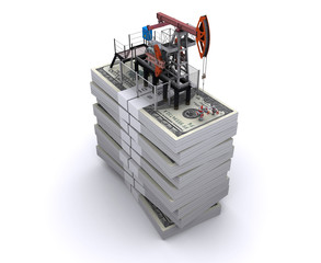 Oil pump-jack stands on a packs of dollars