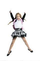 full length stand up little blond school girl with backpack bag
