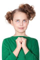 Curious deciding little girl
