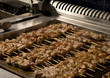 Barbecue shish kebab on metal grill