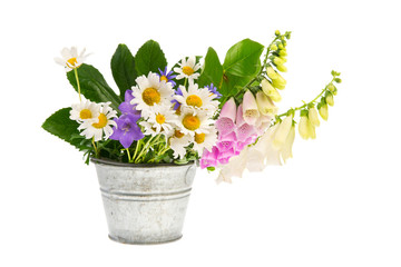Purple Foxglove and white daisies in bucket