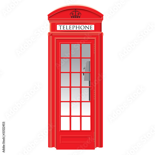 Red telephone box - London - vector - 33122453