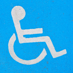 Painted disabled sign