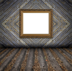 old style painted wooden rough planks background with frame and
