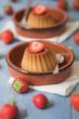 Creme caramel desserts & strawberries