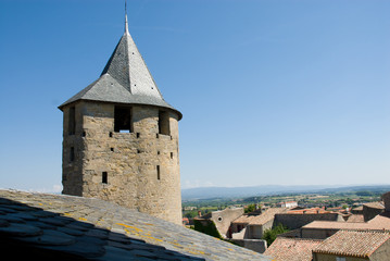 Ancient watchtower of carcassonne chateau