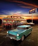 Fototapeta Amerykańska jadłodajnia i samochód - obraz retro