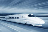 Fast train with motion blur.