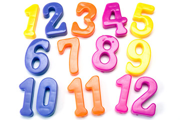 plastic color numbers isolated on white background.