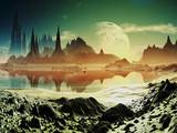 Fototapety Alien City Ruins beside the Lake