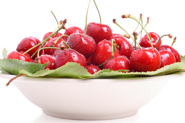 Fresh red cherries in a bowl on white