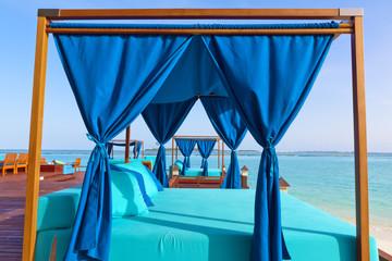 Blue summerhouse on the tropical island