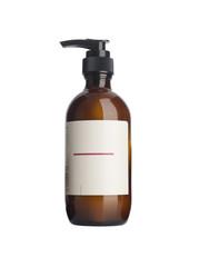 Plastic pump soap bottle without label reflected