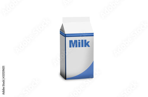 milk pocket isolated on white