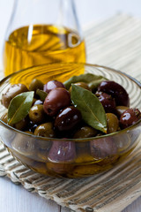 Marinated olives in a glass bowl