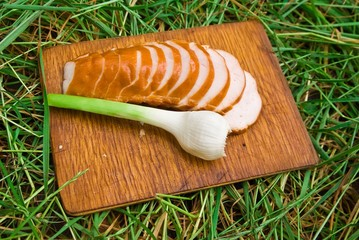 onion and meat on a wooden board in the grass