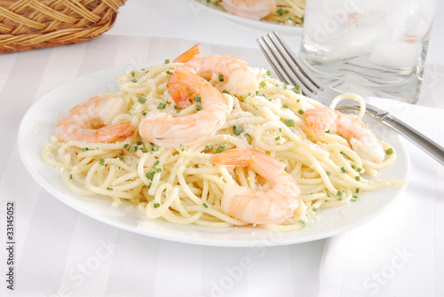 Italian spaghetti with shrimp