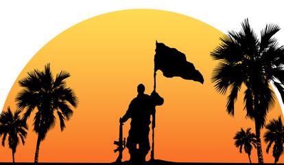 Soldat mit Flagge und Gewehr im Sonnenuntergang unter Palmen