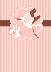 Stork and Baby girl place card