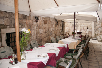 Cafe in the Walled City of Dubrovnic in Croatia Europe