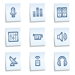 Media web icons, blue notes