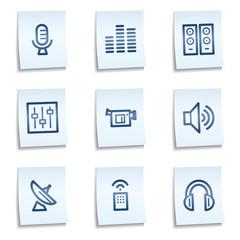 Media web icons, blue notes