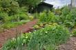 Blockhütte im Bauerngarten