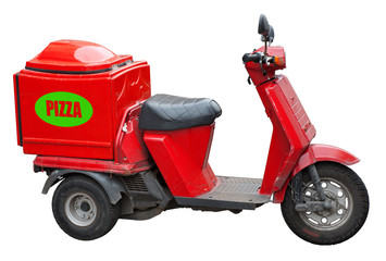 Delivery scooter for pizza. Clipping path included.