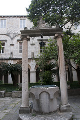 Well in Church Cloisters in Walled City of Dubrovnic in Croatia