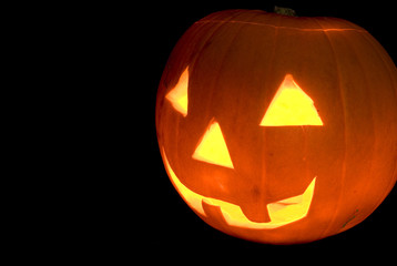 Halloween Pumpkin Head Carved Jack O Lantern, Cut Out on Black