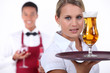 Barman and waitress