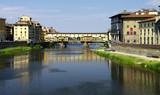 Florenz - der Fluß Arno mit der Ponte Vecchio poster