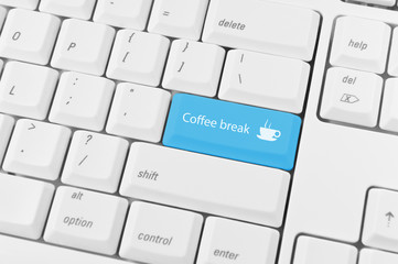 Keyboard with blue key Coffee break