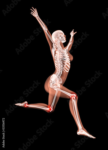 Jumping female medical skeleton